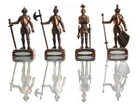 alabarda: quattro figure di cavalieri isolati su bianco