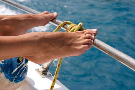 sunburned: A close-up view of a womans sunburned feet  Stock Photo