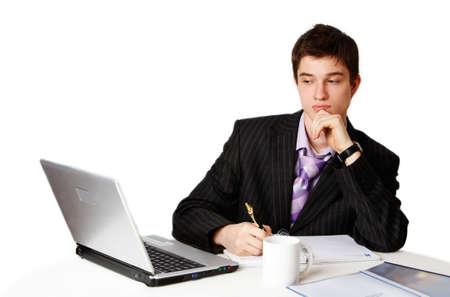 handsome confident man at work photo