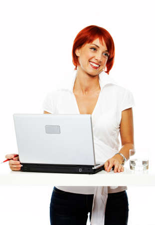 young smiling business women at presentation photo