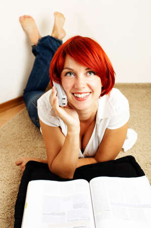 young happy woman is calling on the phone Stock Photo - 3283712