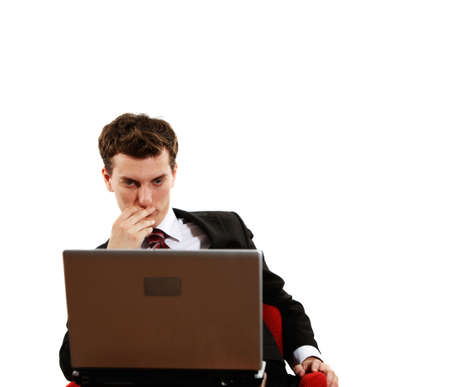 successfulness: young successful confident man with laptop