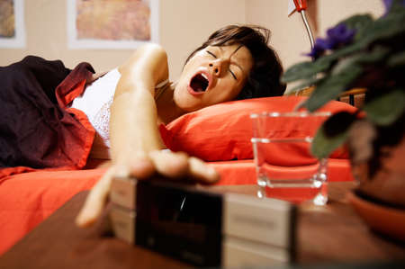 woman is sleeping at home photo