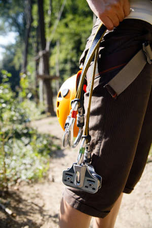 carabiner: professional climbing gear with helmet pulley and carabiner