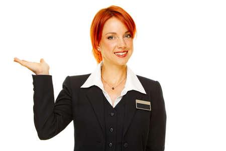 Junge caucasian Frau als Hotel worker  Standard-Bild