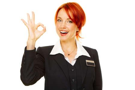 Junge caucasian Frau als Hotel worker