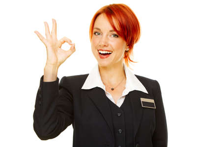 young caucasian woman as hotel worker photo