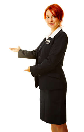 red head woman: young caucasian woman as hotel worker