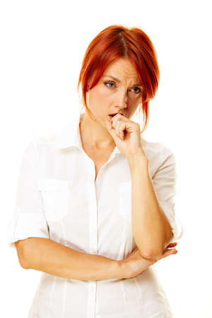 junge Erwachsene caucasian rothaarige Frau negativen Emotionen