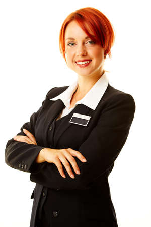 Young caucasian Frau als Hotel worker