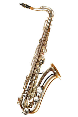 saxophone: gold saxophote on white background Stock Photo