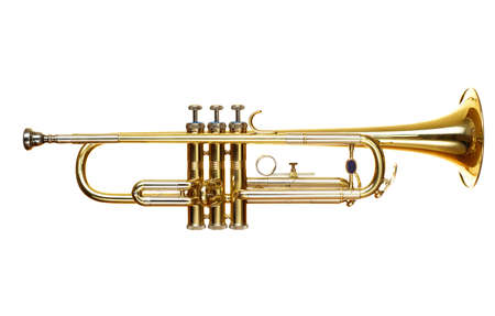 trumpet: brass trumpet over white background