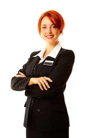Junge caucasian Frau als Hotel Worker lächelnd