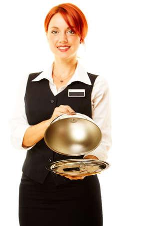 Frau als Restaurant Kellnerin ist Hoding ein Winch Witn Schlüssel innerhalb  Standard-Bild