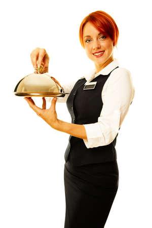 Frau als Restaurant Kellnerin ist Hoding eine Winde