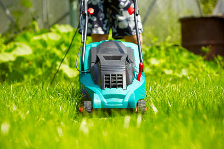 Mowing the lawn with new modern mower photo