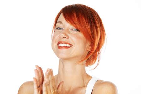 pelirrojas: close-up foto de una hermosa mujer de raza blanca. Mirando hacia el lado Foto de archivo
