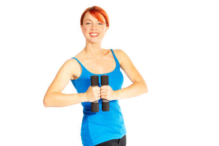 Beautiful caucasian woman curls dumbbells over white background Stock Photo - 11027818