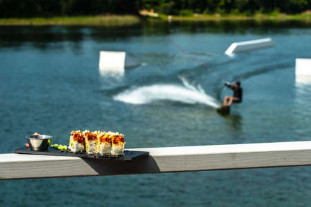 Wakeboarding and eating