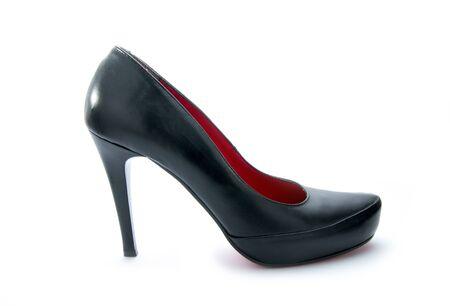 high heel black shoe isolated on white background