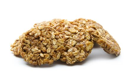 organic oat cookies isolated on white background