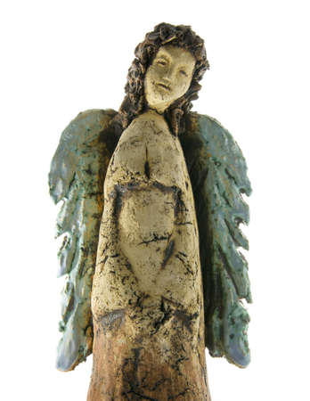 handmade angel figure isolated on white background