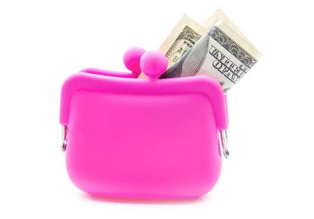 pink silicon purse isolated on white background photo