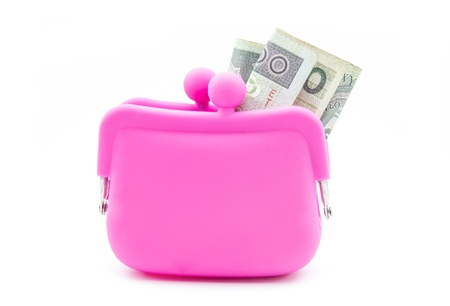 pink silicon purse isolated on white background