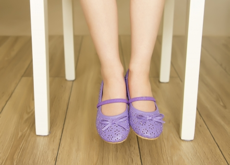 bare foot girl: cute little girl s legs in violet shoes