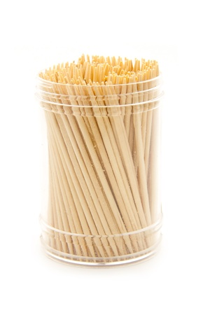 group of toothpicks isolated on white background photo