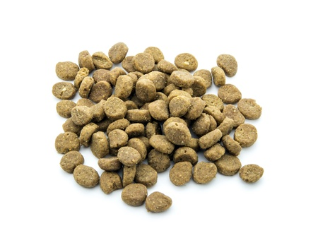 goodies: dry dog food isolated on white background