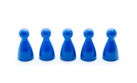 blue play figures isolated on white background Stock Photo