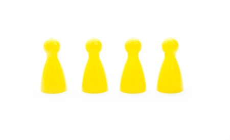 yellow play figures isolated on white background Stock Photo