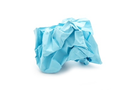 ball of crumpled paper isolated on white background