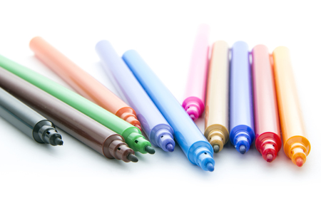 colorful markers isolated on white background