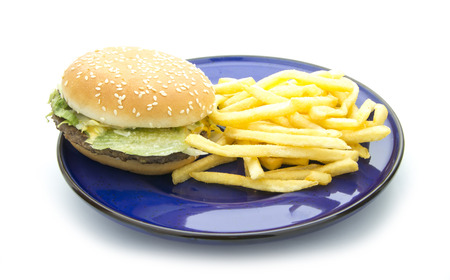 hamburger with french fries isolated on white background photo