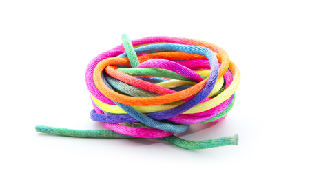 colorful twine isolated on white background photo