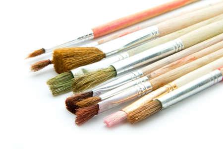 used old brushes isolated on white background Stock Photo