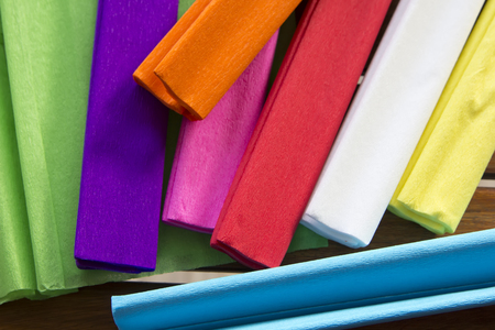 set of colorful tissue paper on table