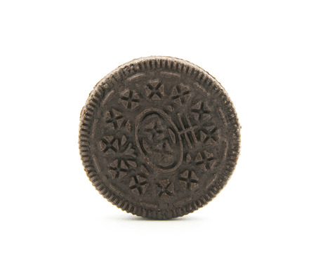 chocolate cookie with cream filling isolated on white background Stock Photo