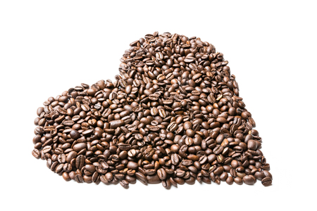 heart burn: coffee beans isolated on white background, heart shape Stock Photo