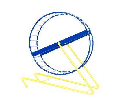 blau und gelb auf weißem Hintergrund Hamsterrad