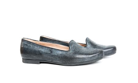 moccasin: black elegant female shoes isolated on white background Stock Photo