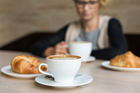 delicious coffee with croissant Stock Photo