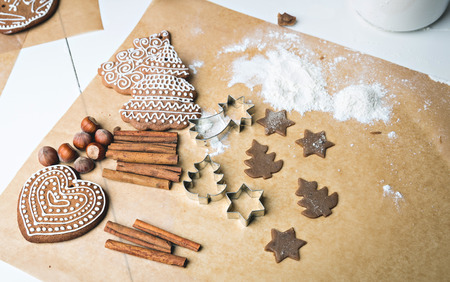 making gingerbread cookies, christmas baking