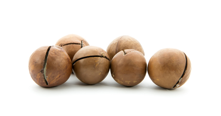 macadamia nuts isolated on white background Stock Photo