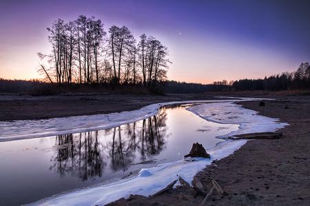 Winter beautiful landscape during sunrise