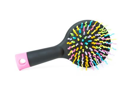 Colorful hairbrush isolated on white background Stock Photo