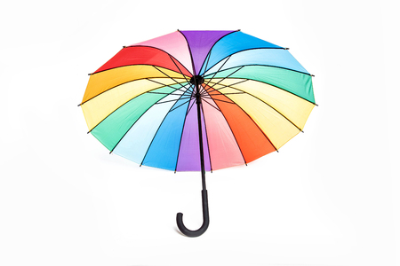 Colorful opened umbrella isolated on white background