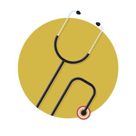 estetoscopio corazon: Ilustración del icono del estetoscopio aislado en blanco
